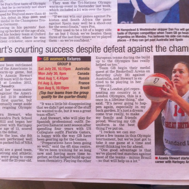 Ex-student in the papers. Team GB Women's Basketball #London2012