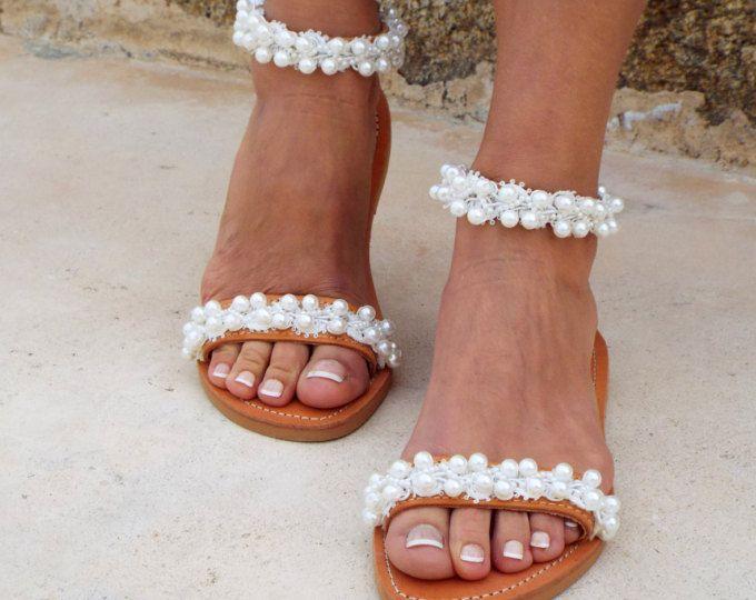 "Bridal sandals, White Beach Wedding Sandals,\"" shining bride\"" Pearl sandals, Greek Sandal, Genuine leather shoes, Summer shoes"