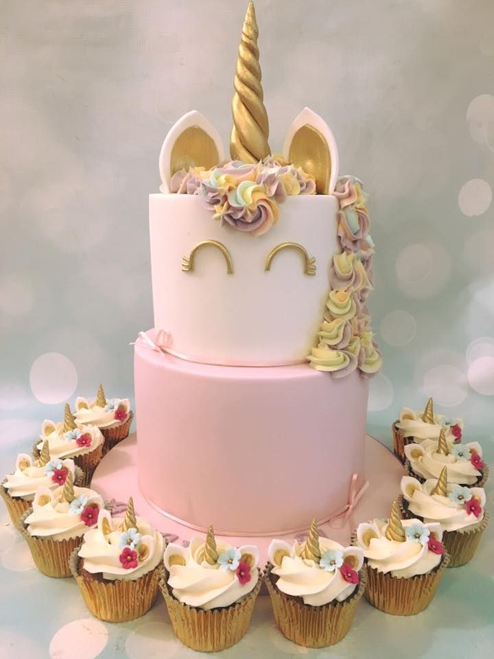 Unicorn 2 Tier Birthday Celebration Cake With Matching Cupcakes In