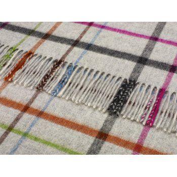 Bronte by Moon Merino Lambswool Variegated Windowpane Throw Grey Multi Blanket
