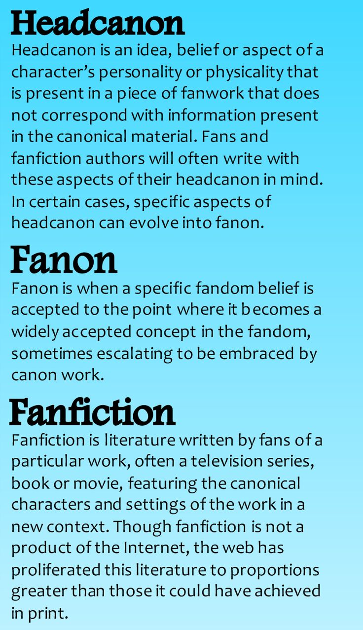 Definitions of head canon, fanon, and fanfiction.
