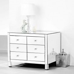 Presidential Low Boy mirrored chest of drawers, crystal handles.
