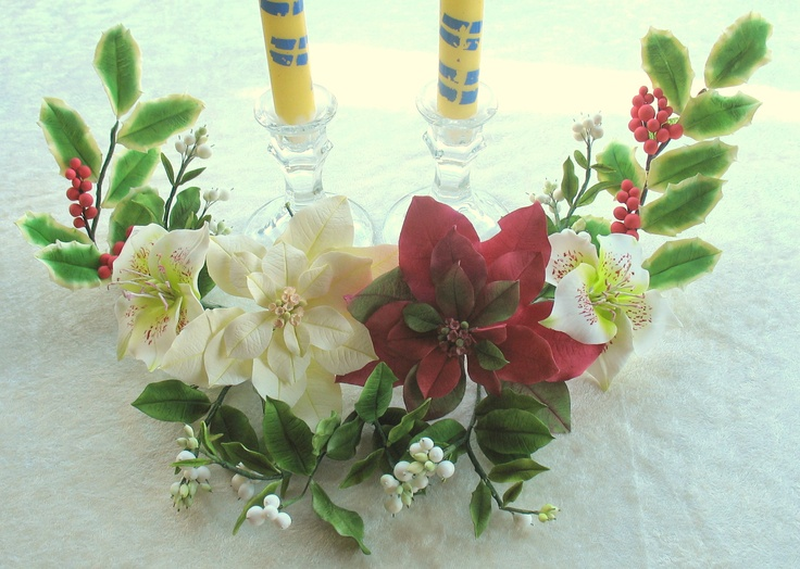 Gumpaste christmas centerpiece flowers of