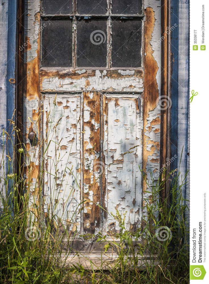 weathered-door-jpg-outside-shot-windowed-paint-peeling-off-tall-grass-growing-35338177.jpg (957×1300)