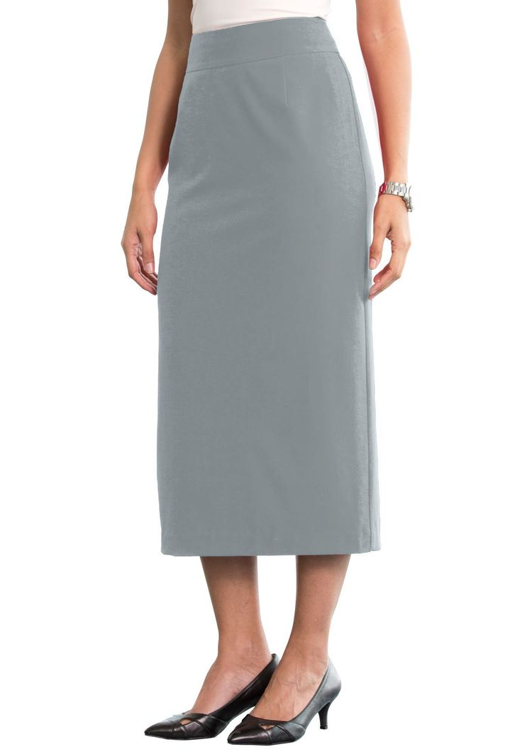 """Classic suit skirt with a contoured waistband for an effortless fit.  in a shaped fit for a feminine silhouette 34"""" length for a refined look contoured waistband for an effortless fit front and back darts, back walking vent back zip with two hook-and-eye closures fully lined, polyester/rayon/spandex machine wash; imported  Suit skirts available in 12, 14, 16, 18, 20, 22, 24, 26, 28, 30, 32  Fit and Fashion Notes:This sleek suit skirt is the latest addition to our bi-stretch workweek co..."""