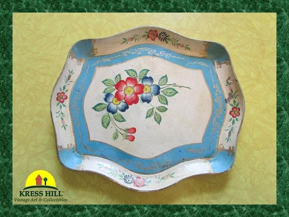 Wooden Hand Painted Serving Tray  Made in by KressHillVintage, $38.00