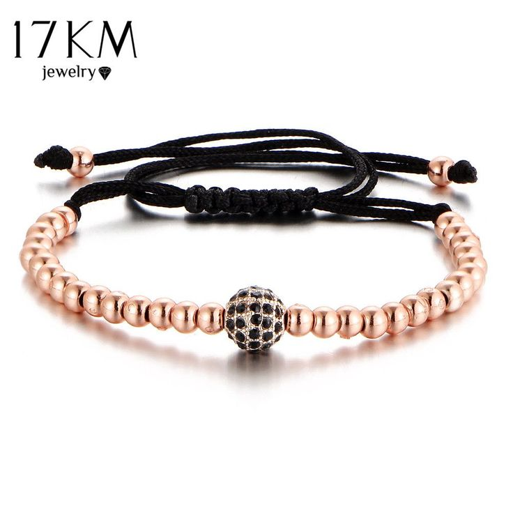 17KM New Black CZ Beads Ball Braiding Macrame Bracelet Friendship Punk Gold Color Men Jewelry Bead Love Bracelets For Women