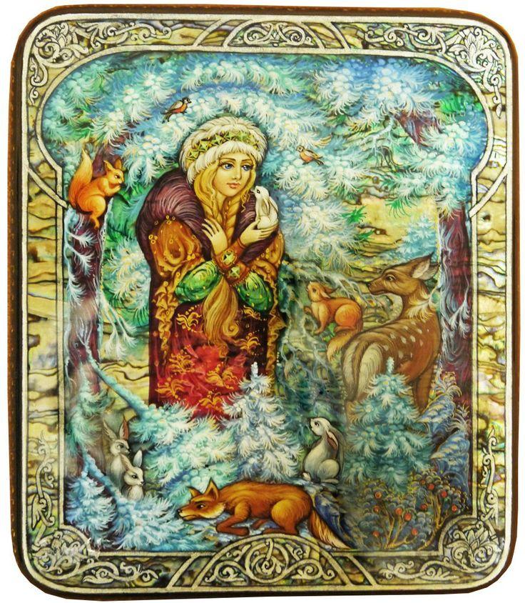"Russian Lacquer Box Titled ""Snow maiden"" Artist Kovalyeva"