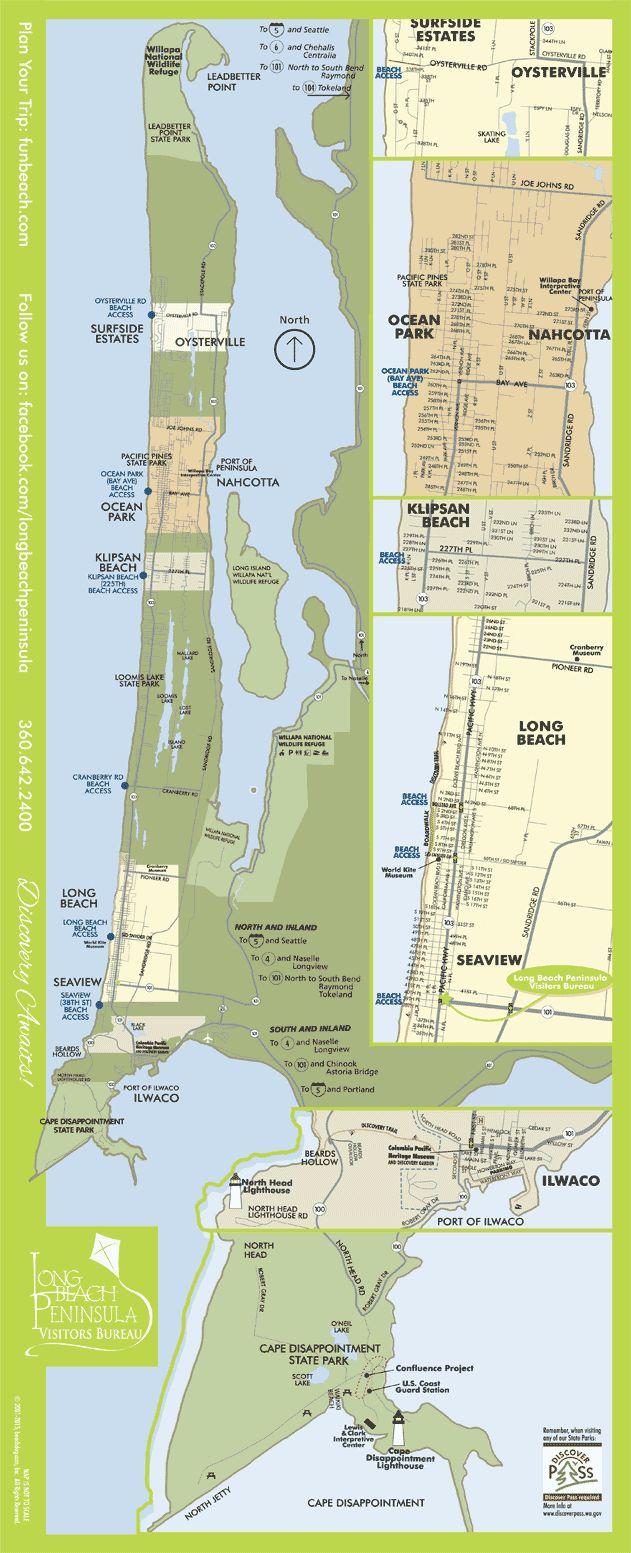 Long Beach Peninsula Map Maps In 2018 Pinterest And Washington Beaches