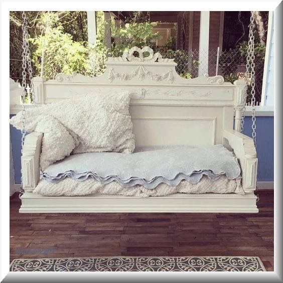 Bed turned into out door swing. I love this!
