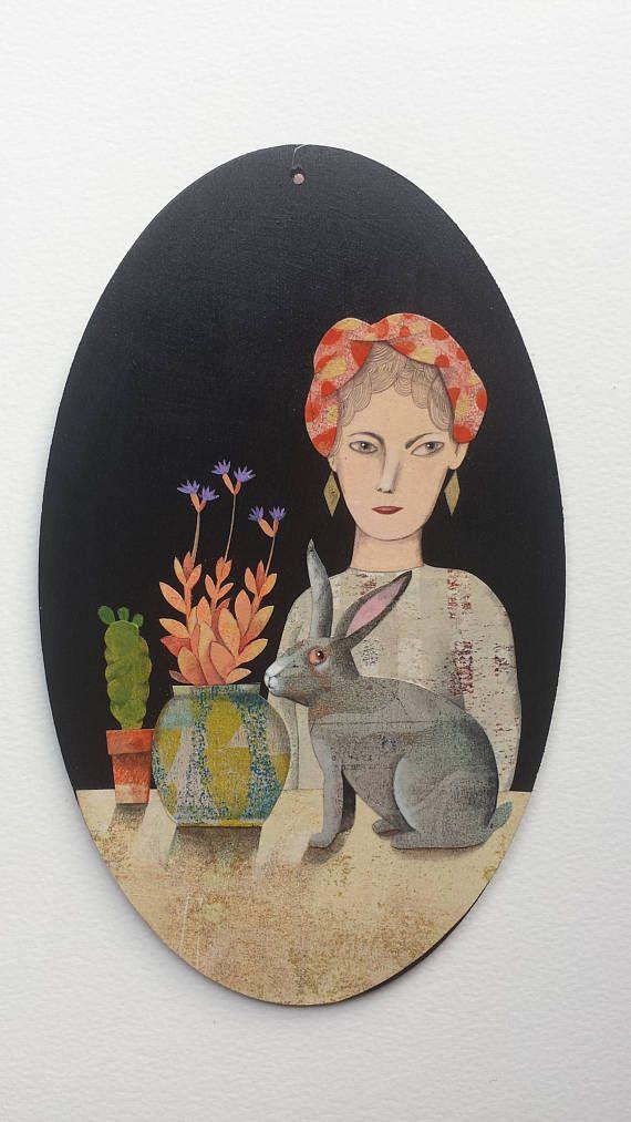 Tableau ovale  femme au lapin gris