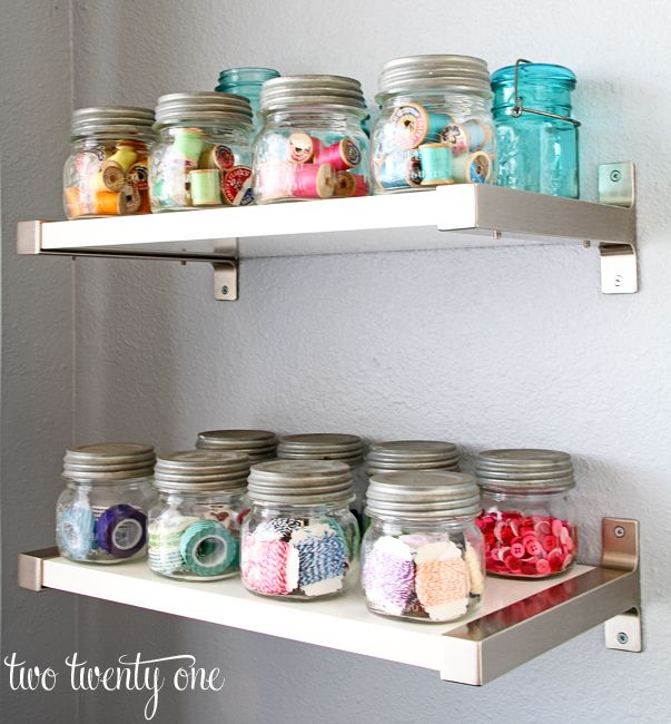 Ball canning jars used for craft storage