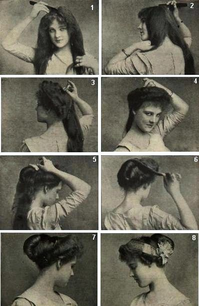 """Psyche Knot"" hairstyle, c. 1910."