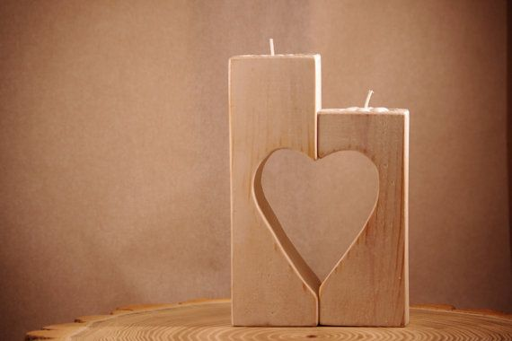 Wooden heart shaped candle holder | Candle holders, Wooden ...