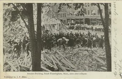 The Amsden Building Collapse of 1906 in Framingham, Massachusetts - At 3:40pm on a Monday afternoon, July 20, 1906, the G. M. Amsden bui was under construction on Main street in Framingham, Massachusetts--collapsed.