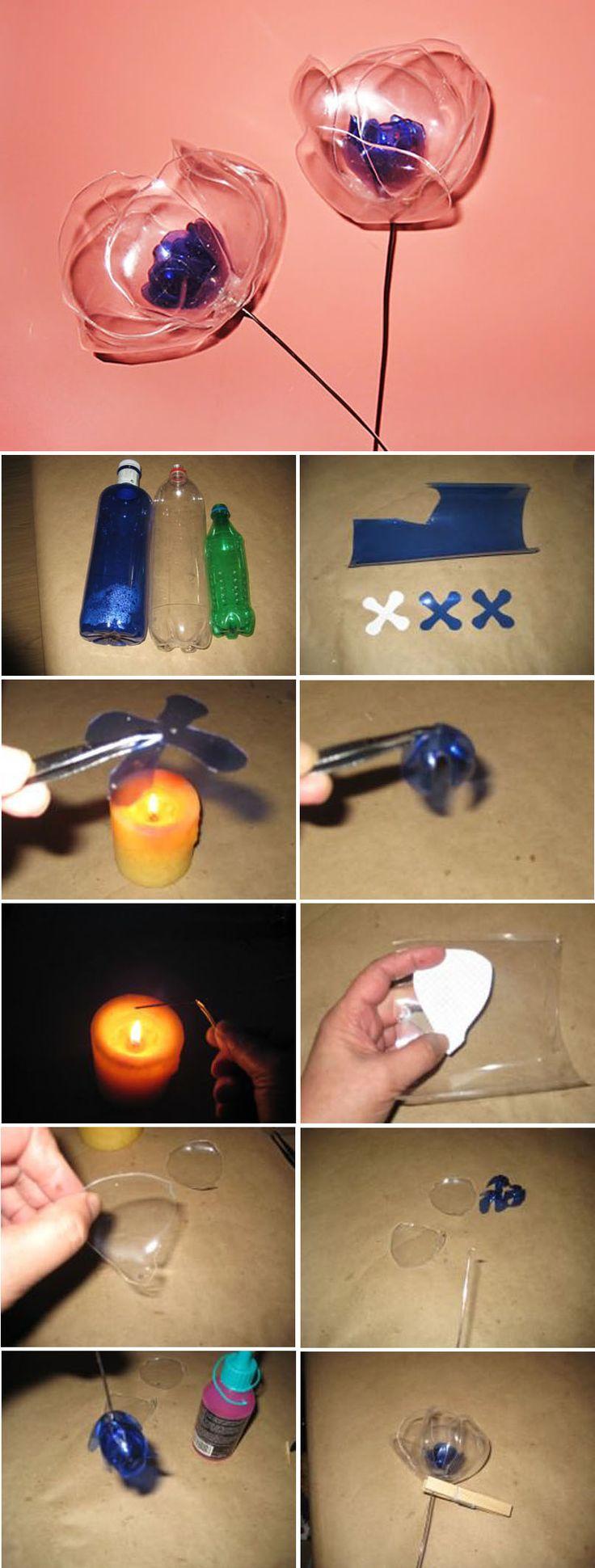 Haz bonitas flores con botellas de plástico. A pesar de que puede parecer un trabajo complejo y laborioso, es realmente sencillo.  En este enlace http://bricoblog.eu/hacer-flores-con-botellas-de-plastico te dejamos un tutorial para que veas cómo las puedes hacer.
