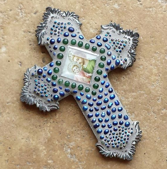 Saint Joseph with Baby Jesus mosaic cross with by SacredArtwork, $32.00