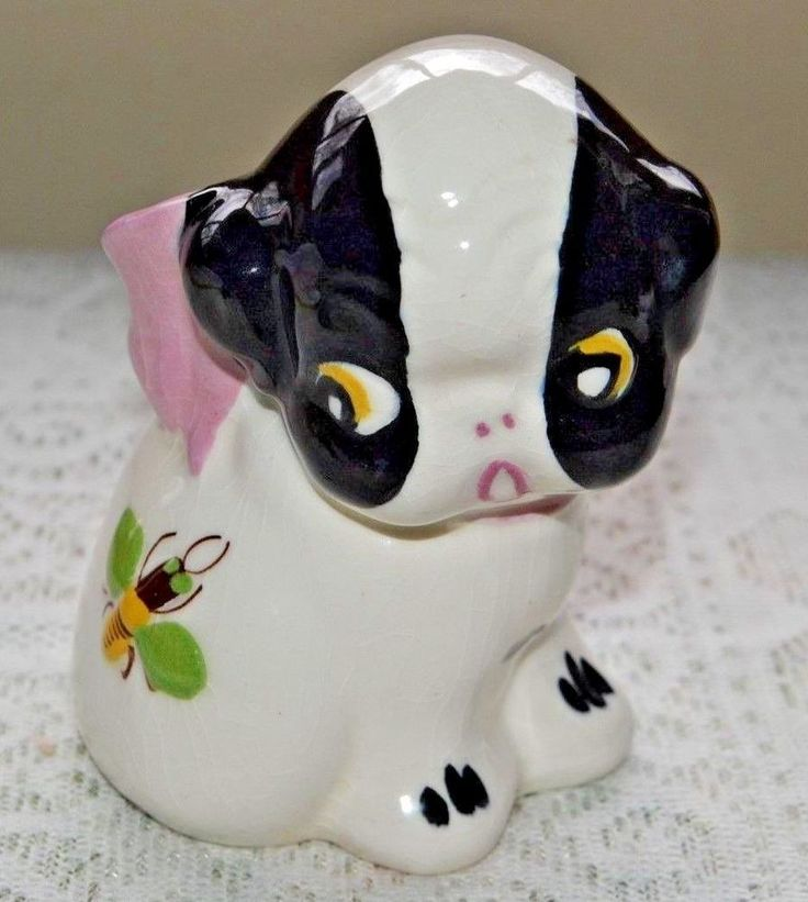 Vintage California Block Pottery Boston Terrier Pup Figural Holder w/Bee #vintage
