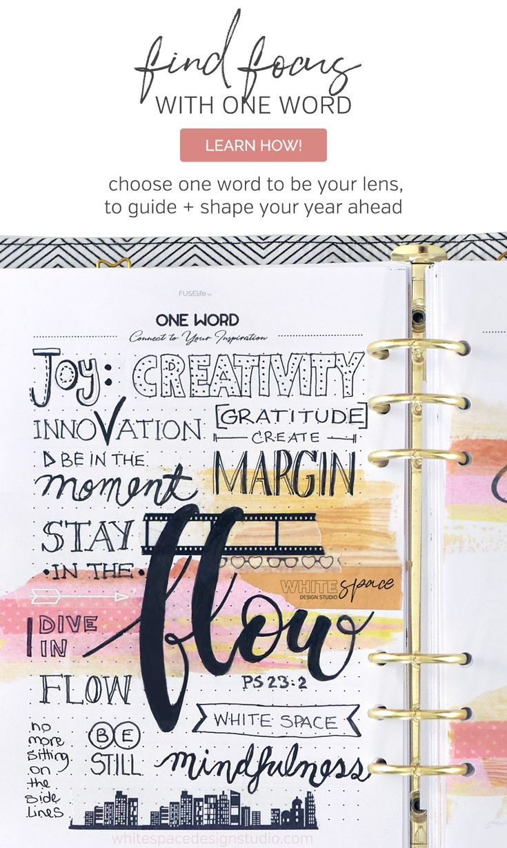 FIND FOCUS WITH ONE WORD | How to find focus using one word to guide you in the year ahead >>> Be inspired and create a vision board with FUSElife Classic Planner pages in Kikki,K binder. | whitespacedesignstudio.com #flourishwithwhitespace #plannerprintables #planning #productivity