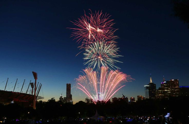 The 9:30 p.m. New Year's Eve fireworks at Yarra Park beside the Melbourne Cricket Ground (MCG) in Melbourne, Australia. (Dec. 31, 2013)