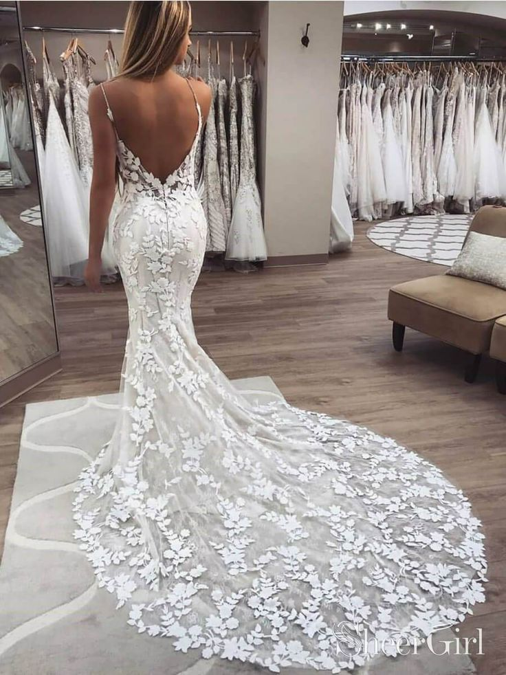 Vintage Embroidery Lace Mermaid Wedding Dresses Boho Bridal Gown AWD1455
