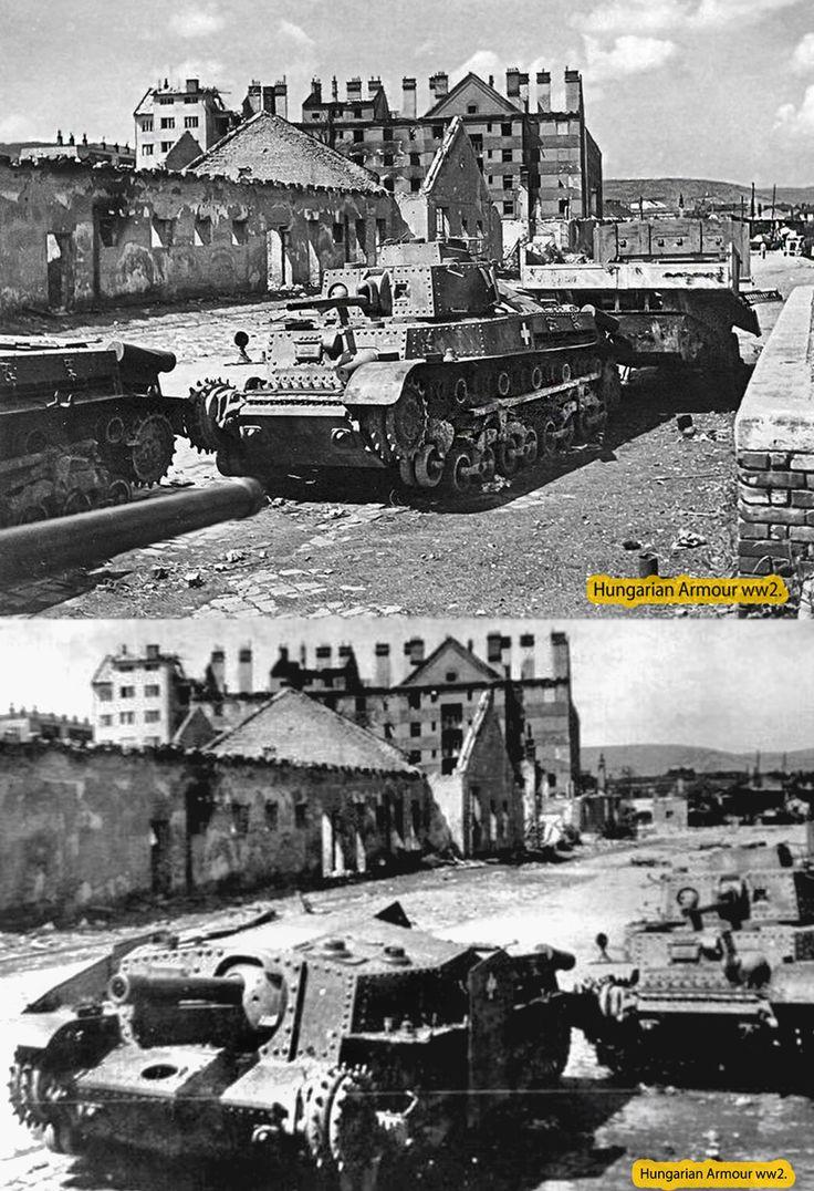 Ambandoned Hungarian Turan 40.m and Zrínyi assault gun is Bratislava .1945.