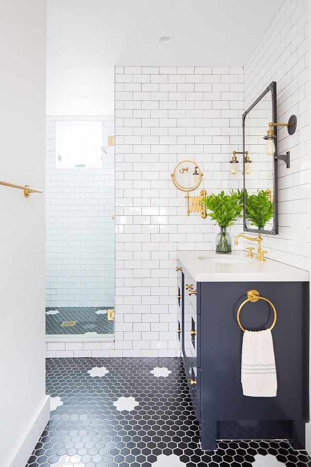 Bathroom Hex Tile Flooring Is A Mix Of Matte Black And Matte White