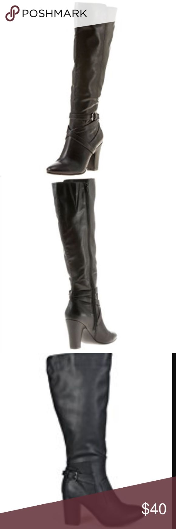 "💃🏾Tall Ladies Heeled Boot Features 31/2"" block heel, 14"" shaft height, 151/2"" calf/shaft circumference Closed almond toe, Closed back Full-length zipper closure at inner side of shaft, Crisscrossed instep strap details with adjustable buckle strap at lower end of shaft Lightly padded footbed, Synthetic upper Purchase by 4:00 pm Central Time for same day shipping. Rampage Shoes Heeled Boots"