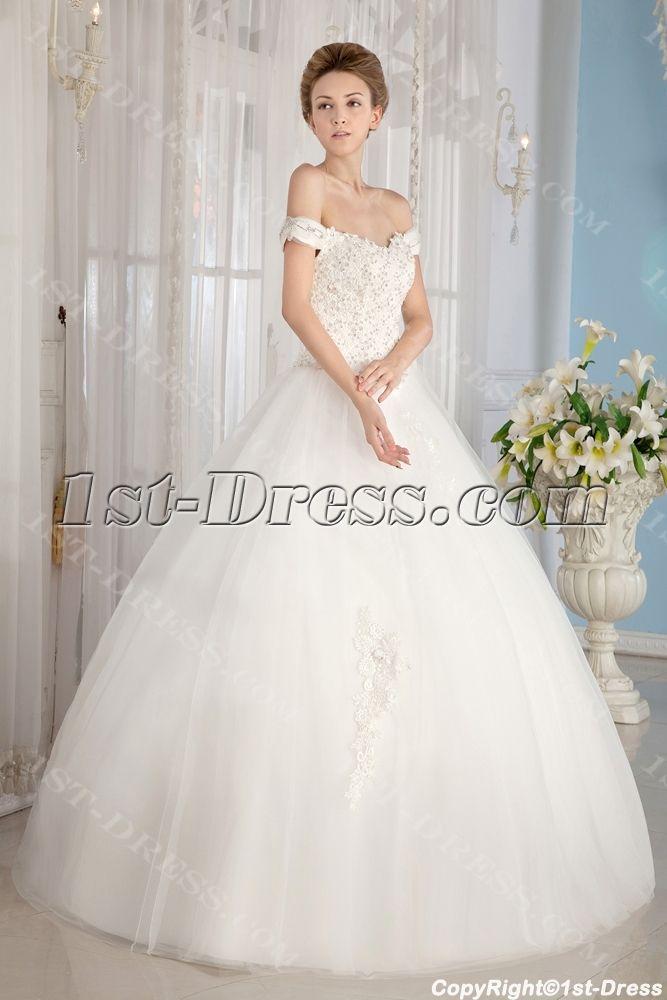 Ivory Off Shoulder Cinderella Ball Gown Wedding Dresses1st Dress