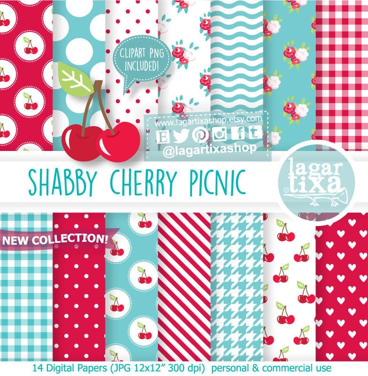 https://www.etsy.com/mx/listing/504173738/papel-digital-fondos-rojo-cereza-teal #shabby #cherry #cherries #cereza #turquoise #patterns #picnicbirthday #roses #tablecloth