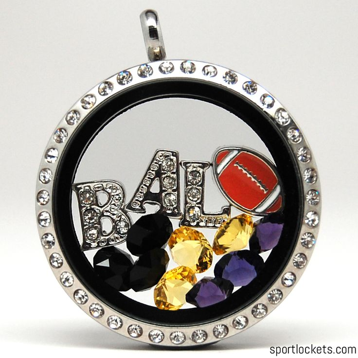 Baltimore football themed locket necklace from SportLockets.com. Customize with your own letters!