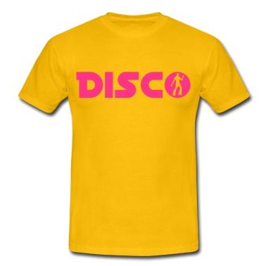 Ein Disco Tänzer der 70er Jahre im Schriftzug.