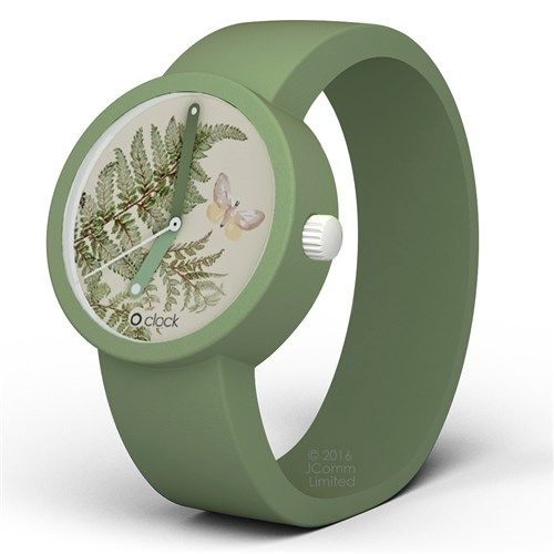Ondertussen in mijn bezit, jeeeej !!! O clock watch - botanical fern with pistachio strap