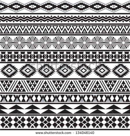 Tribal striped seamless pattern. Geometric black-white background. Swatches of seamless pattern included in the file. - stock vector
