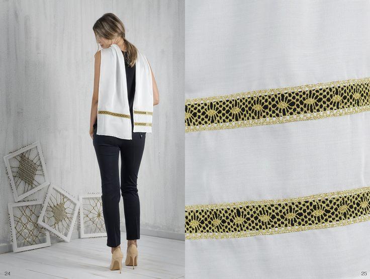 Bobbin lace, Pillow lace, Accessories, scarf, handmade, traditional Greek handicraft, soya fabric, sustainable fashion. www.ariadnesthread.gr