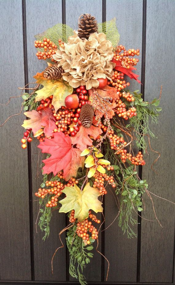 31 Best Fall Door Swags Images On Pinterest Fall Wreaths