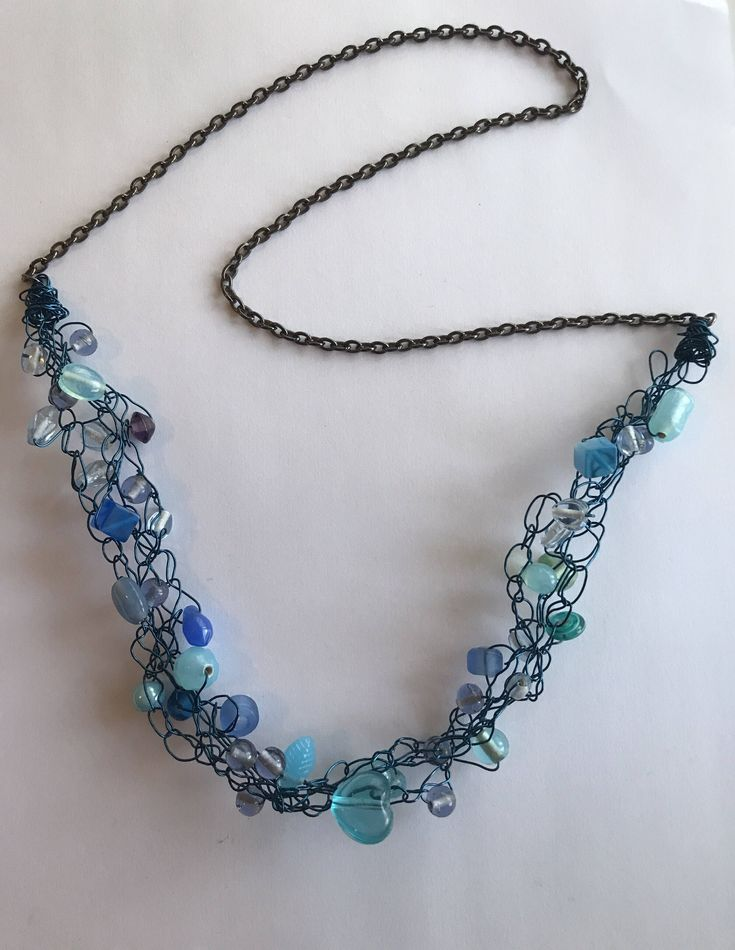 Clasp free beachy wire crochet beaded necklace from CraftyChicHandmade on Etsy