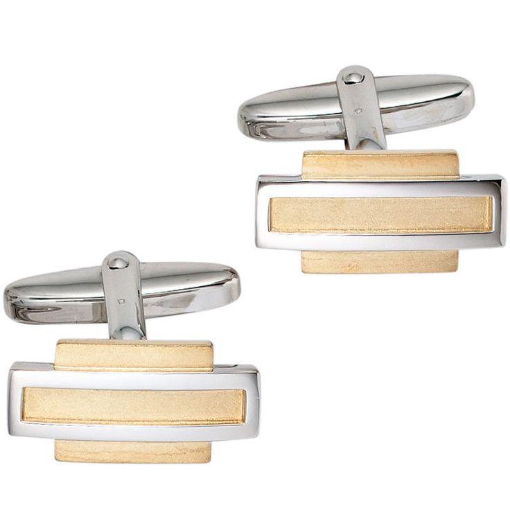 Manschettenknöpfe 925 Sterling Silber rhodiniert teilvergoldet mattiert A33755