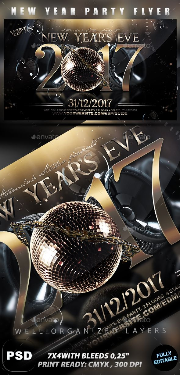 New Year Flyer Template PSD #design #nye Download: http://graphicriver.net/item/nye-flyer/13424621?ref=ksioks