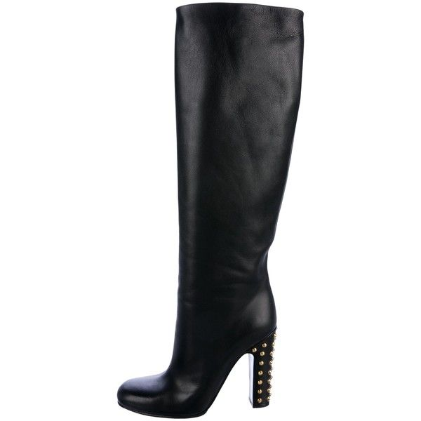 Pre-owned Gucci Jacquelyne Studded Knee-High Boots ($595) ❤ liked on Polyvore featuring shoes, boots, black, black knee high boots, black round toe boots, real leather knee high boots, round toe boots and leather knee boots