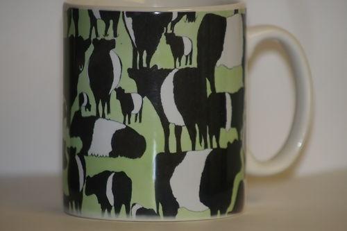 Big Beltie Herd Mug by artist Pauline James. Splashpoint. Belted Galloways