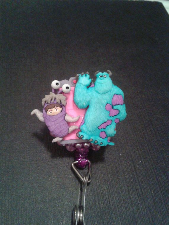Boo & Sully Monsters Inc. ID Badge RN Reel Holder or Pen