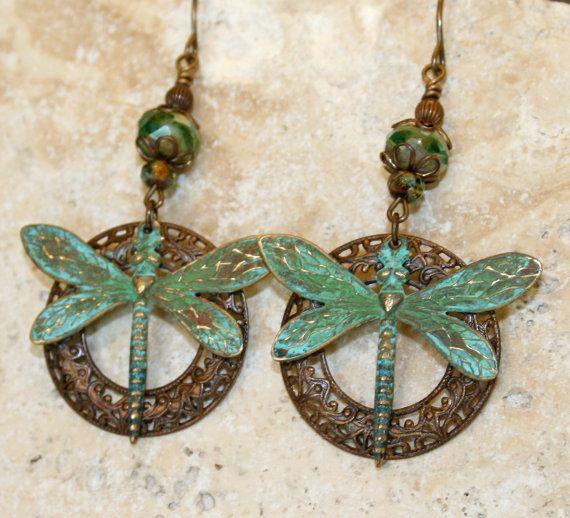 Artisan jewelry Verdigris earrings Vintaj by FinchnWillowBoutique, $27.00