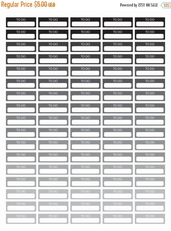 "80% Until New Year - To Do Planner Stickers - Black and White - Instant Download - Digital Artwork by mormonlinkshop  1.00 USD  To Do Stickers for your planner. Each rectangular tile has the phrase ""To Do"" and you can write your daily task on it. The tiles come in many different colors. It can easily be used with your planner or in your journal calendar. Hang this now! Great for all ages classes etc. The JPEG PDF and PNG files will become available for instant download once your payment is…"