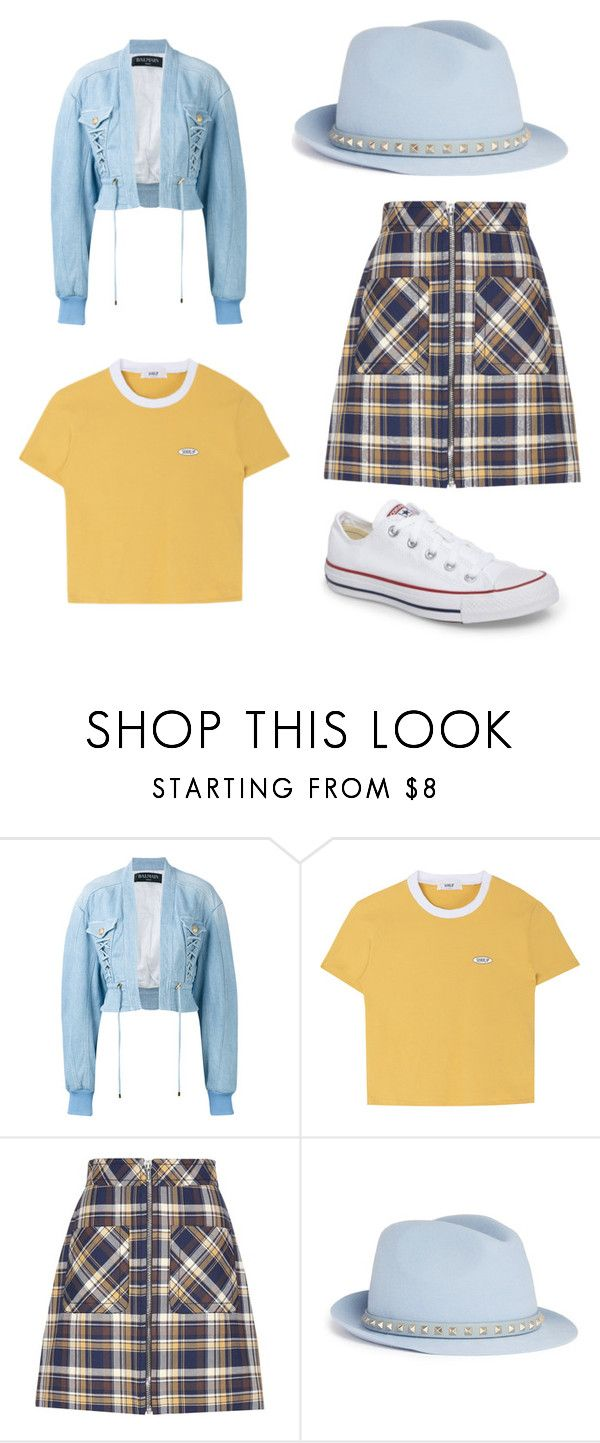"""Untitled #224"" by denysa-boldog on Polyvore featuring Balmain, Miu Miu, Valentino and Converse"