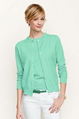 Women's Fine Gauge Supima Crew Cardigan from Lands' End (Moroccan Blue and Bright Teal & maybe Silver Pink)
