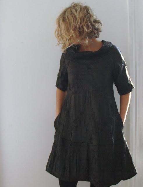 13threads: Black Ribbon Embroidered Taffeta Dress