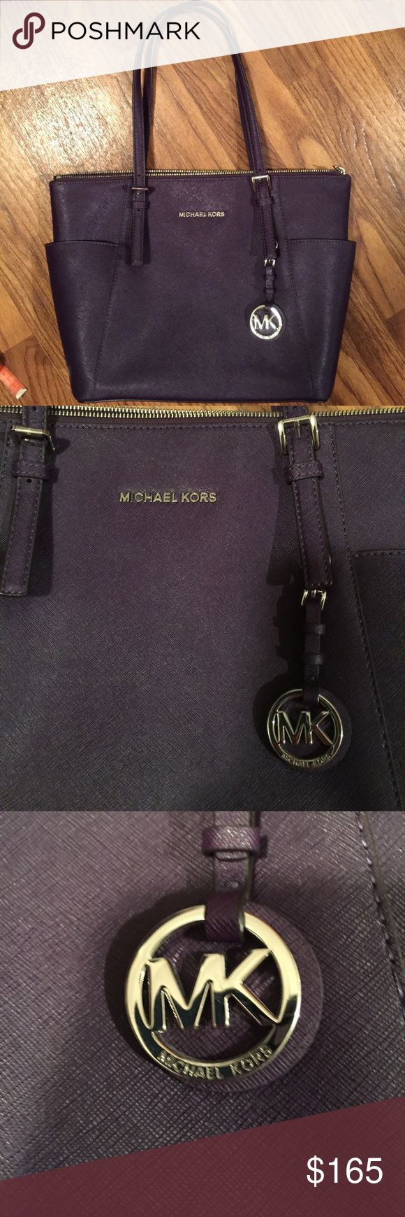 Michael Kors Jet Set Purple Tote ~ Great Bag!!! Great Jet Set Purple Medium to Large Michael Kors Tote Handbag ~ Michael Kors Bags Totes