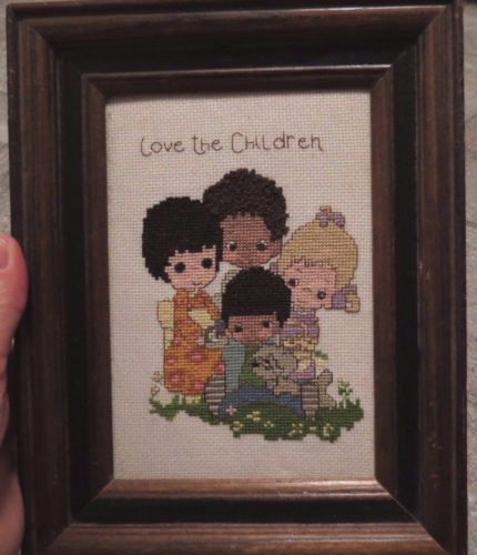 Precious Moments Cross Stitch Love the Children Multicultural Completed Framed