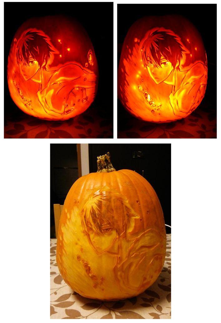 Halloween pumpkin carved out Haru ... Wicked! ...  From bashauma ...  Free! - Iwatobi Swim Club, haruka nanase, haru nanase, haru, nanase, haruka, free!, iwatobi, pumpkin, Halloween, pumpkin carving